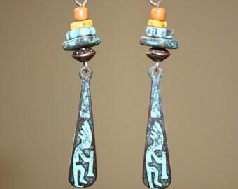 Turquoise Earrings Boho Earrings Copper Earrings Bohemian Earrings Ethnic Earrings Kokopelli Dangle Earrings Jewelry Birthday Gift For Her