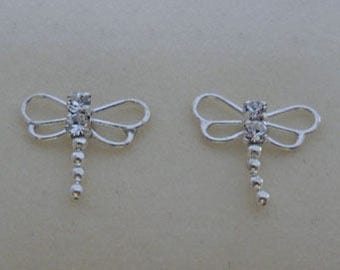 925 Sterling Silver Small Dragonfly / Butterfly CZ Crystal Stud Earrings 12 mm