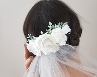 Wedding Flower Comb- Bridal comb- Ivory Rose wedding headpiece- Lambs Ear Greenery Comb- Ivory Bridal Headpiece- Sage Hair Vine