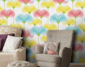 Colorful flowers vinyl wallpaper, self-adhesive, temporary, removable nursery mb091
