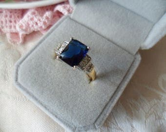 Antique Art Deco vintage Gold Ring with Sapphire blue and white stones ring size 9 or S