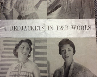 """Vintage knitting pattern 1950's P&B 395 four bed jackets 34-40"""""""