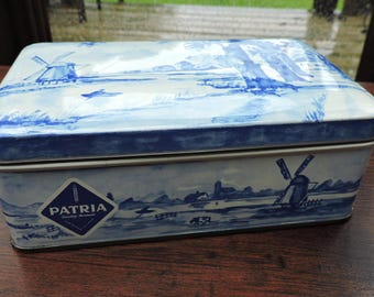 Vintage Patria Quality Bisquits Delft Tin Can Dutch Holland Windmill