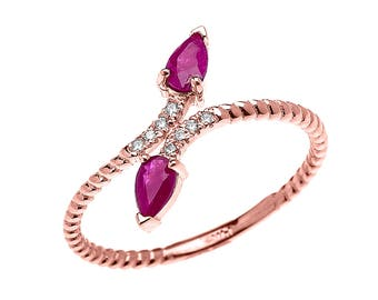 Gold Dainty Two Stone Pear Shape Ruby and Diamond Rope Design Promise Ring