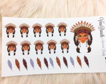 23 American Beauty Planner Stickers, Native American Stickers, Feather Stickers, American Indian Stickers, Decorative Stickers, EC