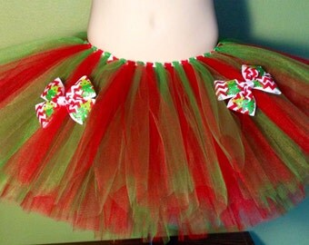 Red and Green Tutu with Boutique Bows - Christmas, Holiday, Chevron Ribbon - Child Sizes