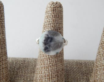 Silver wire wrapped amazonite ring, boho style, everyday ring, festival chic jewelry, silver wire ring, light blue, summer jewelry