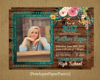 Photo Graduation Invitation,Announcement,Glitter Print,Wildflowers,Rustic,2017,High School,College,Open House,Graduation Party,Going Away