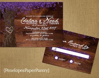 Rustic Fall Wedding Invitation,Oak Tree,Purple Fall Leaves,Carved Heart,Carved Initials,Wood,Elegant,Romantic,Custom,Printed Invitations