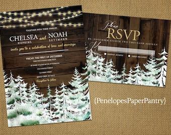 Rustic Winter Wedding Invitation,Snow,Pine Trees,Snow Covered Forest,Glitter Print Lights,Wood,Romantic,Custom,Printed Invitations or Sets