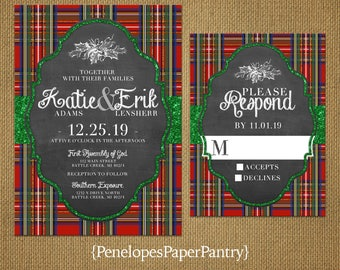 Christmas Wedding Invitation,Christmas Plaid,Red,Green,Green Glitter Print,Chalkboard,Rustic,Romantic,Printed Invitation,Wedding Set