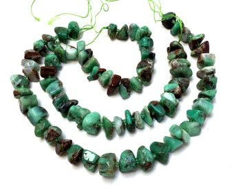 """Chrysoprase nuggets natural rustic tumbled green brown gemstone beads 15.5"""" strand"""