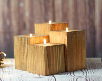 Reclaimed Wood Candle Holder - Rustic Tealight Holder - Primitive Decor - Rustic Decor - Wooden Telight Holder - Rustic Home Decor