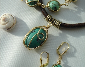 Jewelry set with turquoise, 585 gold filled and leather strap