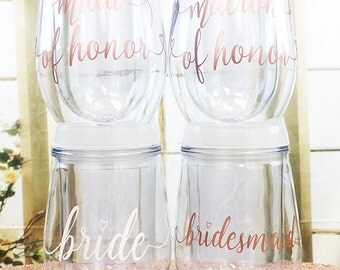 Bridal Party Wine Glass -  Bachelorette Party Favors - Wine Glasses - Stemless Wine Glass - Bridal Party Tumblers - Rose Gold Wedding - 2017