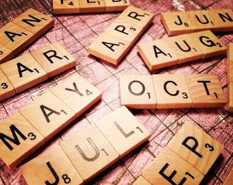 """SCRABBLE Magnets """"Months"""" AND """"Days"""" Set of Nineteen"""