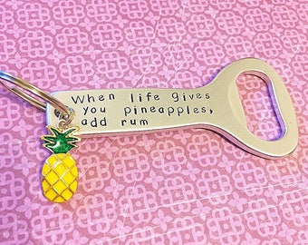 Pineapple keychain Custom bottle opener keychain Pineapple gifts 21st birthday gifts for her bachelorette favors bridesmaid gifts beer gifts