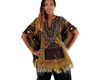African Clothing , Mud Cloth Poncho