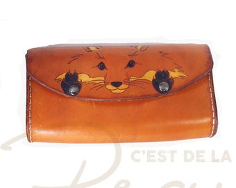 Red fox leather pencil case