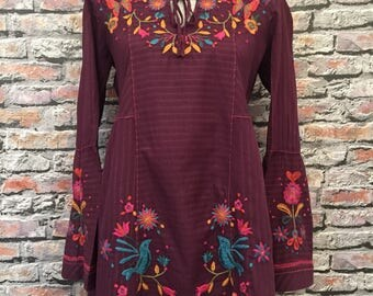 Vintage Johnny Was Embroidered Tumic  Size Small