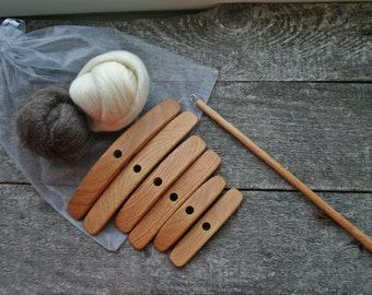 3in1 Set of Turkish Spindles + fiber samples. One oak shaft + 3 sets of arms: large, medium and small