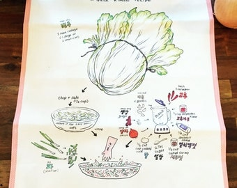 Kimchi ( 김치 ) Recipe Kitchen Towel