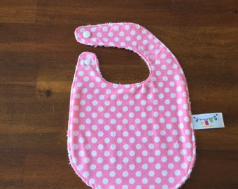 NEW*** baby bib very absorbant for 0-6 months old White dots on pink Cotton Terry cloth baby gift baby shower gift