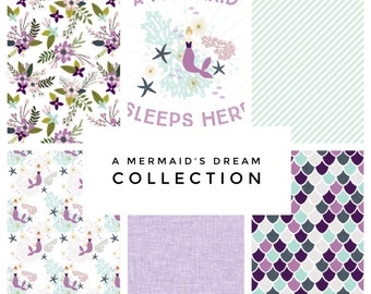 Custom Baby Crib Sheet // Made to Order // A Mermaid's Dream Collection-Laguna // Mermaid // Baby Bedding