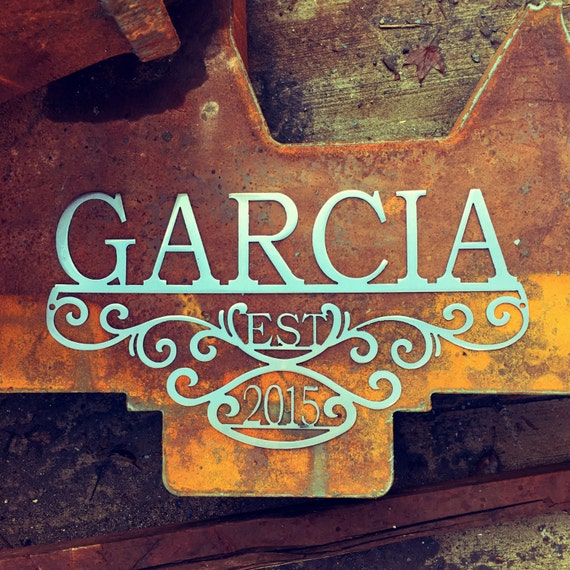 Custom Metal Name Sign with Established Date