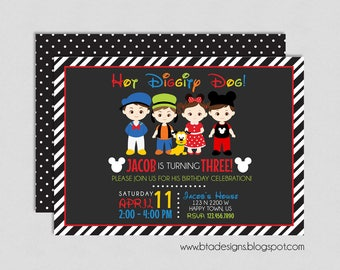 Mickey Mouse Birthday Party Invitation 3, Customized, Digital File