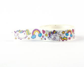 Unicorns Washi Tape - Magical unicorn decorative masking tape, 10 meter, littleleftylou