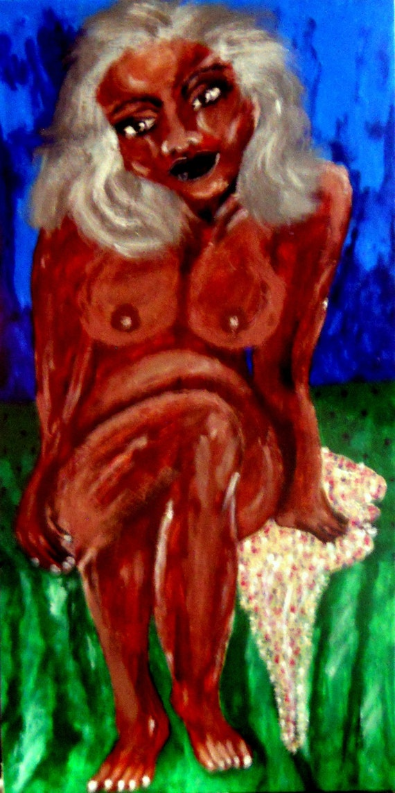 "ANONYMOUS, Acrylic painting of a nude woman on 22 X 11"" Wood Panel, African American Artist Stacey Torres"