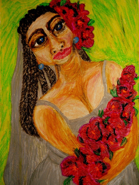 "Oil Pastel portrait of ROSAMIE, a woman on 11 X 15"" watercolor paper, by Artist Stacey Torres"