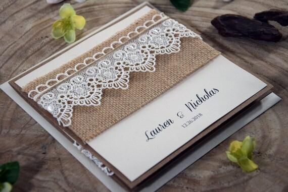 Wedding Invitations Eco Friendly: Burlap And Lace Wedding Invitation Eco Friendly By