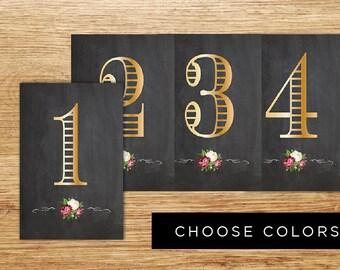 Printable chalkboard table numbers, printable wedding table numbers 1-15, Roses table numbers, Printable Table numbers, Chalkboard Table