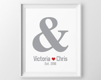 Engagement Gift for Couple Gift for Newlyweds Anniversary Gift Ampersand Engagement Gift Wedding Gift One Year Anniversary Newlywed Gift