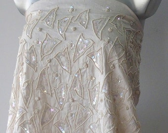 off white bridal embroidered Dupion silk fabric pearls iridescent paillettes sequins 120 cm wide