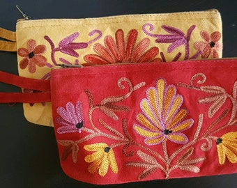 Kashmiri hand stitched crewel embroidery purse