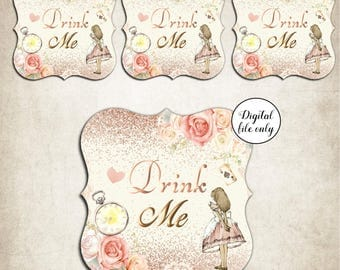 12 Digital Alice in Wonderland Drink Me Straw Toppers ,Party,Collage Sheets,Bottle Cap,Download,Wedding,Birthday,