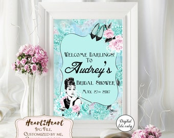 1 Digital Breakfast at Tiffany's Audrey Hepburn Custom Party Sign - Bridal Shower,Birthday,Baby Shower