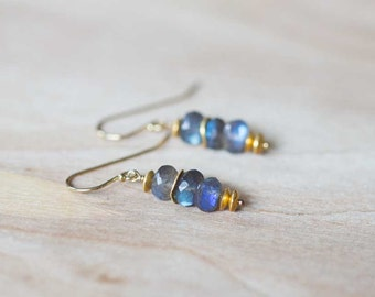 Labradorite Earrings on Sterling Silver or Gold Filled Earwires, Gemstone Dangle Stack Earrings, Labradorite Jewelry