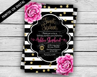 Printed Double-Sided - PINK PEONIES Sweet 16 BIRTHDAY Invitation, Birthday Invite, Custom Invites, Stationery, Celebration, Sweet Sixteen