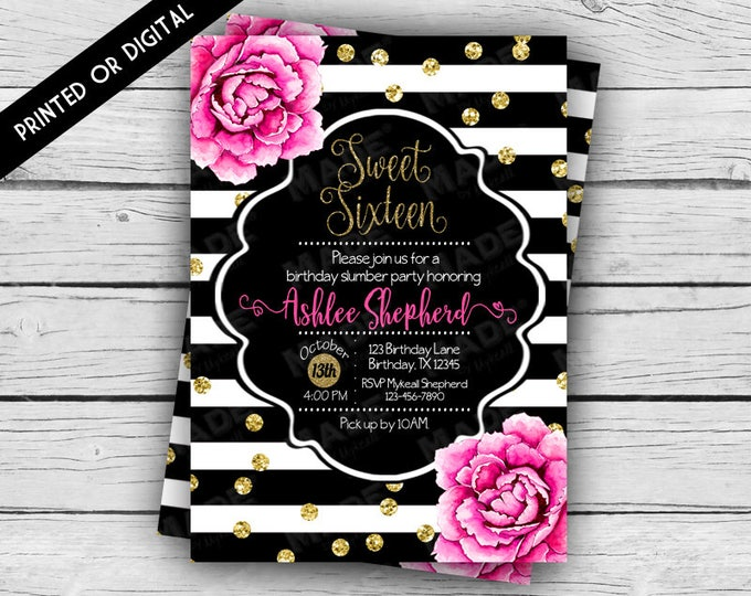 Printed Double-Sided - PINK PEONIES Sweet 16 BIRTHDAY Invitation, Birthday Invite, Custom Invites, Stationery, Celebration, Sweet Sixteen