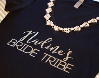Bride Tribe V neck. Bride Tribe Tshirt. Bride Tribe Shirt. Bride Tribe T Shirt. Bride Shirts. Bridal Party Shirts. Custom bride tribe