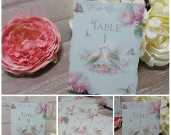 Shabby Chic Dove Table Numbers 1-8 Wedding,Tea Party,DIY Printable,Download