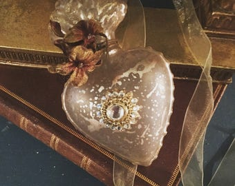 Sacred Heart Mercury Glass Ornament