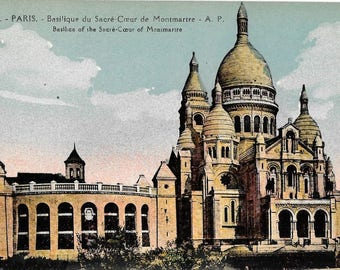 Le Sacre Coeur de Montmartre, Paris, France, Antique 1910 Unused Color Postcard, by E. Papeghin