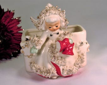 "Vintage Holt Howard Christmas Angel Vase Planter with Spaghetti Trim , Green Mittens, and Red Bells . The Angel  is 4 1/2"" Tall -  1958."