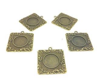 10 media flowered squares Bronze Cabochon 20mm