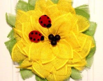 Sunflower Paper Mesh Wreath - Summer